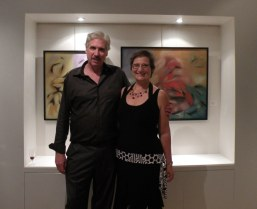 Gregg Simpson and Carol Cram at an exhibition of Gregg Simpson's work