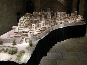 View of a scale model of San Gimignano in 1300