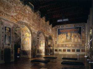 Martini Fresco of the Maesta in the Sala del Mappamondo