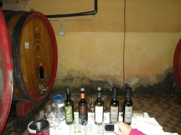 Wines for tasting at a winery near Montalcino