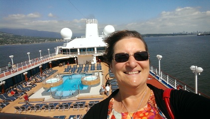 A selfie of the author sailing out of Vancouver, BC on the first day of a cruise to Alaska