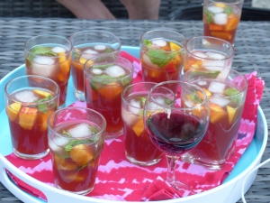 Rum punch cocktails at sunset