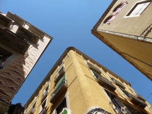 Looking up in the old town of Girona