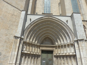 Very large front door of Girona Cathedral