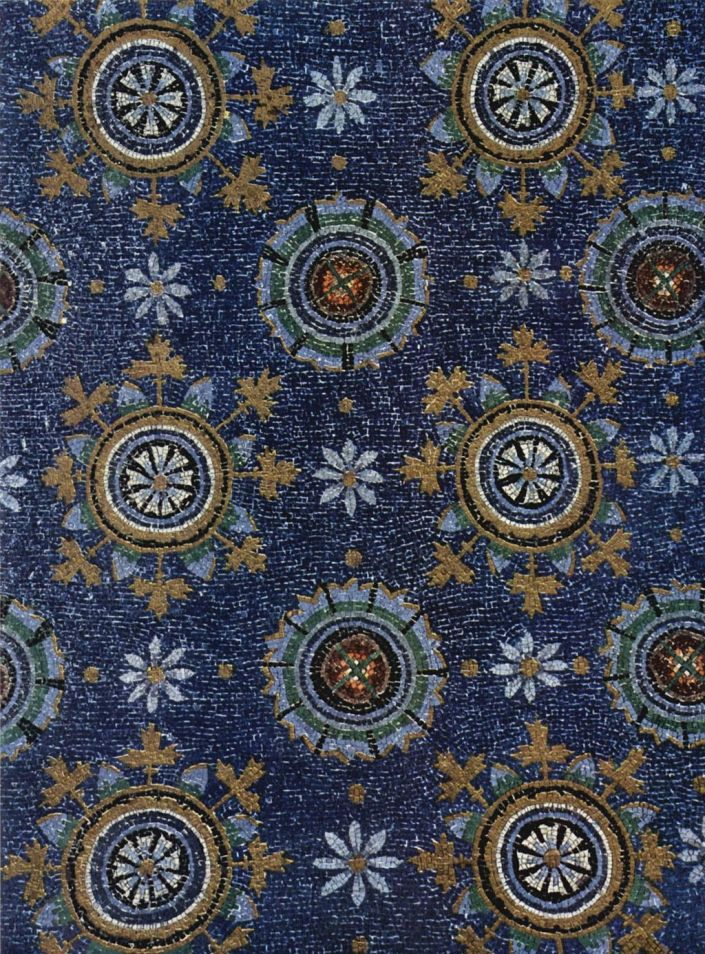 Close-up of mosaic stars in the Mausoleum of Galla Placidia in Ravenna, Italy