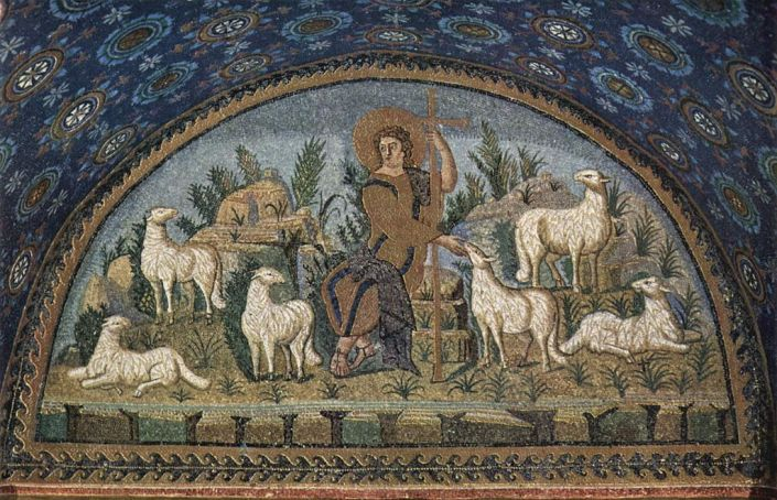 Mosaic depicting Christ as a shepherd in the Mausoleum of Galla Placidia in Ravenna, Italy