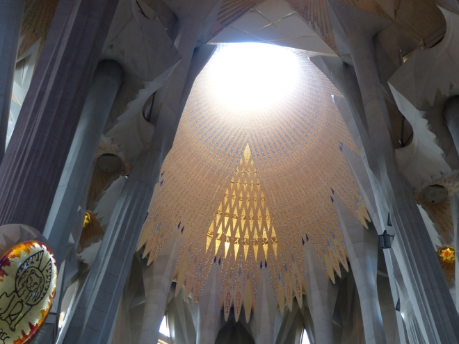 Looking straight up at the main opening above the altar in the Sagrada Familia
