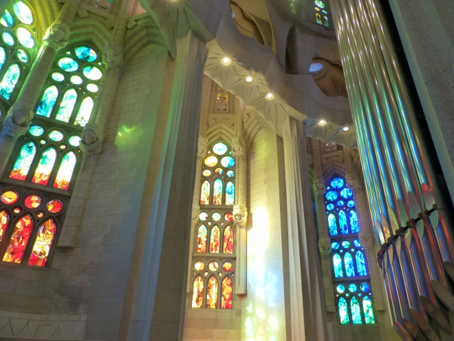Inside the Sagrada Familia in Barcelona - more series of windows in various color schemes