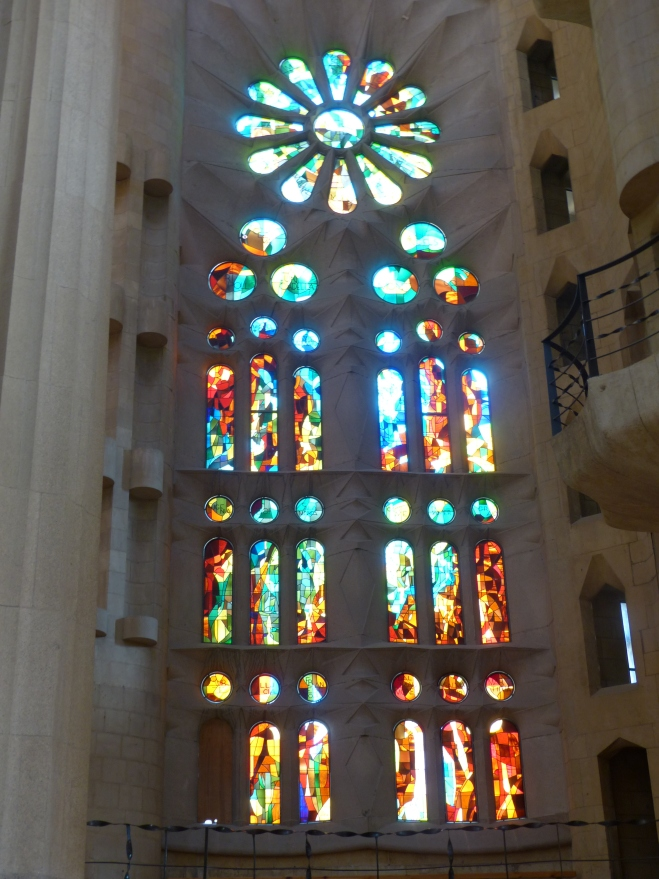 Inside the Sagrada Familia in Barcelona - one of the main windows near the entrance