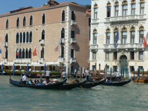 Phalanxes of gondolas set off down the Grand Canal.