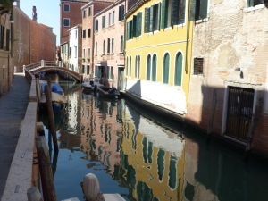 A small canal in Venice in the Santa Croce neighborhood