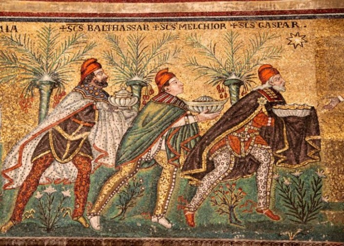 Sixth Century mosaic of the Three Wise Men in the Basilica of Saint'Apollinare Nuovo