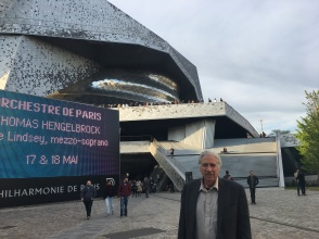 Gregg in fron of the Paris Philharmonic Hall