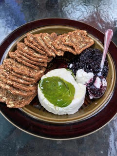 Saltspring Island Goat Cheese, Blackberry and Basil Confinture, and Lesley Stowe posh crackers