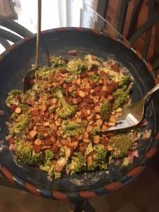 Broccoli Salad with feta cheese, almonds, and rasins